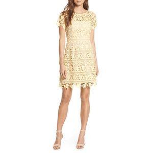 Eliza J Open Lace Dress, Floral, Pastel Yellow
